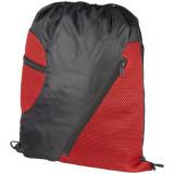 Saculet cu 2 buzunare frontale din plasa, poliester 210D, Everestus, 8IA19058, rosu, eticheta de bagaj inclusa