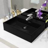 Cumpara ieftin Chiuvetă cu orificiu robinet, ceramică, 51,5x38,5x15 cm, negru