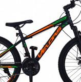 Bicicleta MTB-HT 24 inch Velors CSV2410A negru cu design verdeportocaliu
