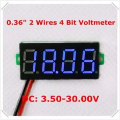 Voltmetru digital leduri albastre, 3.5 - 30 V, de culoare negru, 4 digit, 2 fire
