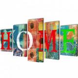 Set tablouri din pânză cu imprimeu colorat Home 100 x 50 cm, vidaXL