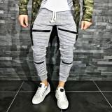 Pantaloni pentru barbati de trening gri deschis conici banda jos cu siret alb fermoare decorative bumbac Z0008