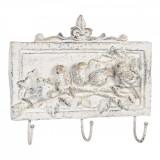 Cuier de perete cu 3 agatatori din polirasina alb antichizat 30 cm x 6 cm x 26 h, Clayre & Eef