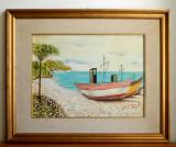 Peisaj marin - tablou tehnica mixta ulei + carbune, rama cu passepartout 56x46cm, Peisaje, Impresionism