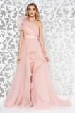 Cumpara ieftin Rochie Ana Radu rosa de lux asimetrica pe umar captusita pe interior accesorizata cu cordon