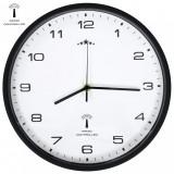 vidaXL Ceas de perete control semnal radio, alb & negru, 31 cm, cuarț