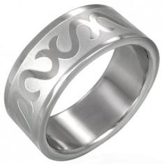Inel din oțel inoxidabil - decorat cu litera S - Marime inel: 69