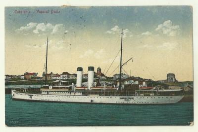 cp Constanta : Vaporul Dacia - circulata 1923, timbre foto