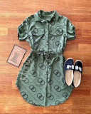 Rochie ieftina casual stil camasa khaki si neagra cu cercuri si cordon in talie