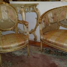 Salon antic frantuzesc/canapea cu fotolii stil baroc/ludovc XVI/mobila/veche, Sufragerii si mobilier salon, Ludovic, 1900 - 1949