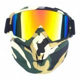 Masca protectie fata plastic dur + ochelari ski, lentila multicolora, MCMFP02