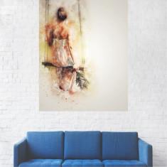 Tablou Canvas, Fata In Leaga cu Flori in Mana - 40 x 50 cm