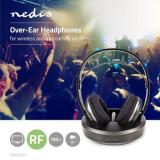 Casti wireless cu transmisie prin radio frecventa si statie de incarcare negru argintiu, NEDIS