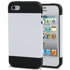 Husa Plastic iPhone 4 Tough Armor Alb Negru