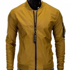 Jacheta pentru barbati, camel, cu fermoar, casual, slim fit - C217