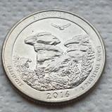 Monedă 25 cents / quarter 2016 SUA , Shawnee, Illinois, litera D, America de Nord