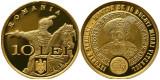 Moneda ROMANIA 10 lei 2018 aur proof Mihai Viteazul 10 Ducati  seria 0000479 Unc
