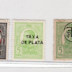 Romania   1918  Carol I - tipografiate cu  supratipar