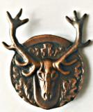 INSIGNA VANATOARE SI PESCUIT TROFEU CERB AGVPS AJVPS AVPS GEVPS CUPRU, Romania de la 1950