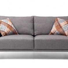 Canapea fixa tapitata cu stofa, 2 locuri Luna Gri, l185xA98xH80 cm
