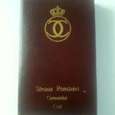 Ordinul Steaua Romaniei Comandor civil Carol 2, argint marcat +cutie. Impecabila