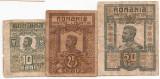 ROMANIA 10 BANI 1917, 25 BANI 1917, 50 BANI 1917 F