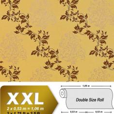 Tapet galben mode floral si finisaj metalic evidentiat 946-22