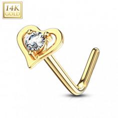 Piercing curbat nas realizat din aur galben 14K - contur în formă de inimă cu zirconiu clar