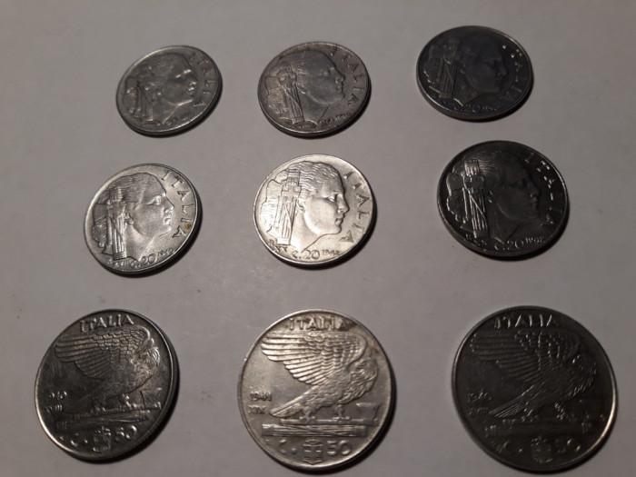 MONEDE ITALIA -REGNO ITALIA - 20 CENTESIMI 1940-42 ; 50 CENTESIMI 1940-42 ; 9BUC
