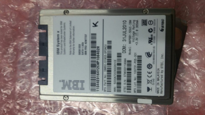 Hard disk IBM 50GB SATA 1.8 NHS SSD Non Hot Swap 43W7737