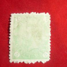 Timbru 5 bani verde , cifra in 4 colturi Romania