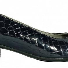 Pantofi dama casual din piele naturala de culoare croco indigo Ninna 234