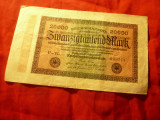 Bancnota Germania 1923 - 20 000 Marci , serie 6 cifre si 3 litere , cal.Buna