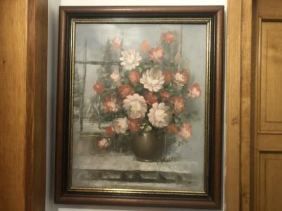 Tablou vechi francez,pictura in ulei pe panza,vaza cu flori,semnat,rama din lemn foto