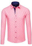 Cămașă pentru bărbat cu mâneca lungă și print decorativ roz Bolf 6886