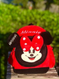 Ghiozdan rosu plus personalizat Minnie Mouse