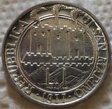 Moneda 1 LIRA - SAN MARINO, anul 1977 *cod 4542 = UNC, Europa, Aluminiu