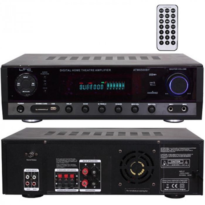 Amplificator polivalent, FM, Bluetooth, USB, AUX, card SD, 2 x 50 W