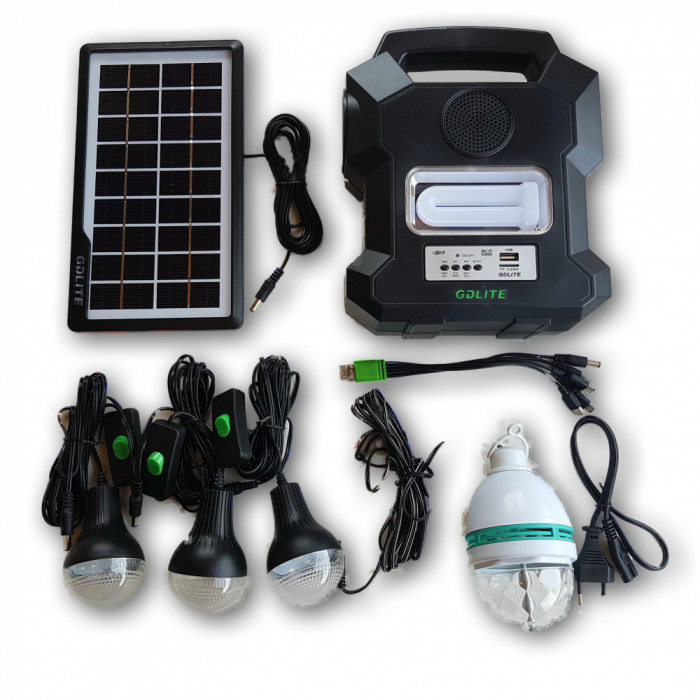 Kit Panou solar fotovoltaic, 4 becuri, incarcare telefon, bluetooth, radio, mp3