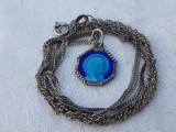 MEDALION argint FECIOARA MARIA religios VECHI patina MINUNATA pe Lant argint