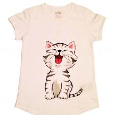 Tricou pictat manual cu pisicuta fericita