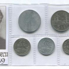 u284 ROMANIA SET MONEDE INFOLIATE ANII 1966 1982 PERIOADA NICOLAE CEAUSESCU