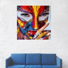 Tablou Canvas, Femeie cu fata pictata - 20 x 20 cm