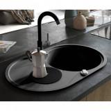 vidaXL Chiuvetă de bucătărie din granit, cu un bazin, oval, negru