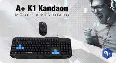 Kit Gaming Tastatura A+ K1 Kandaon + Mouse F1 Black Noua Sigilata P229 foto