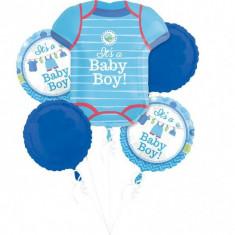 Buchet de baloane botez din folie Shower With Love Boy foto