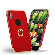 Husa Apple iPhone X, Elegance Luxury 3in1 Ring Rosu, MyStyle