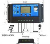Regulator Controler Solar PWM 10A, 12V24V, 2 X USB Si LCD cu Garantie 2 ani