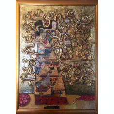 Asteptarea tablou pictat in relief, tablou 3D, Tablou decorativ, modern unicat