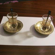CY - Set servit ceai 2 x (pahare + lingurite + tavite) / Turcia / nou & superb